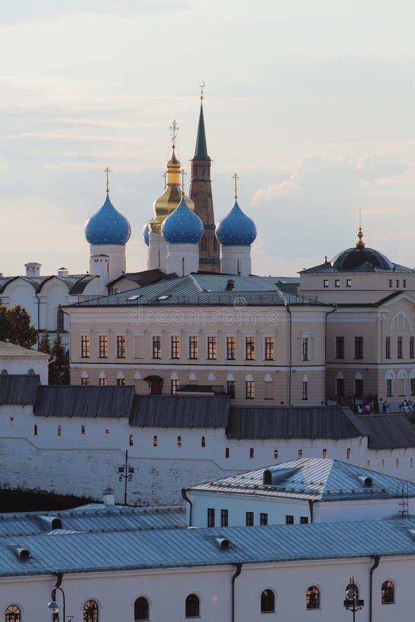 Costruzioni del complesso della cattedrale di annuncio Cremlino di Kazan, Tatarstan, Russia fotografie stock libere da diritti