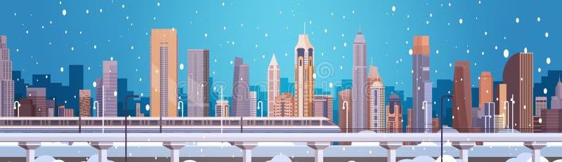 Costruzioni del paesaggio della città di inverno nell'insegna di orizzontale del fondo di Buon Natale e del buon anno della neve illustrazione vettoriale