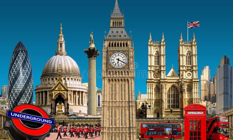 Costruzioni del punto di riferimento dell'orizzonte di Londra fotografia stock libera da diritti