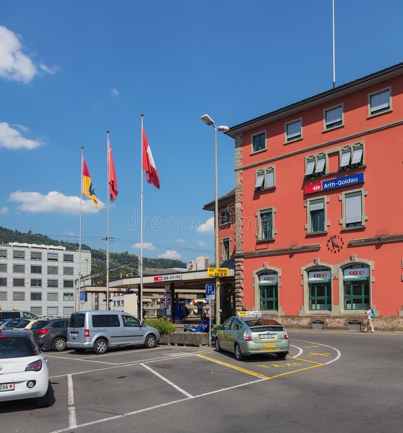Costruzioni della città di Arth in Svizzera immagini stock