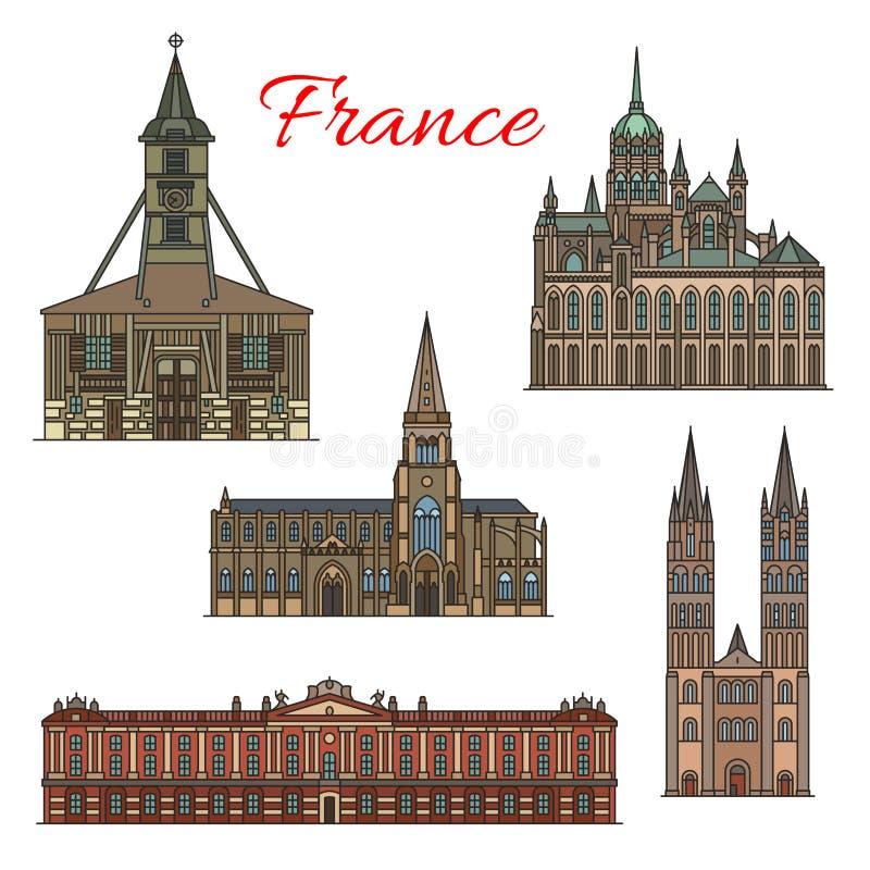 Costruzioni della facciata di vettore dei punti di riferimento di viaggio della Francia illustrazione vettoriale