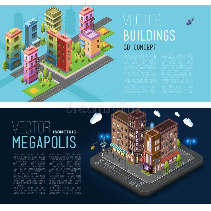 Costruzioni delle insegne ed uffici della città illustrazione vettoriale