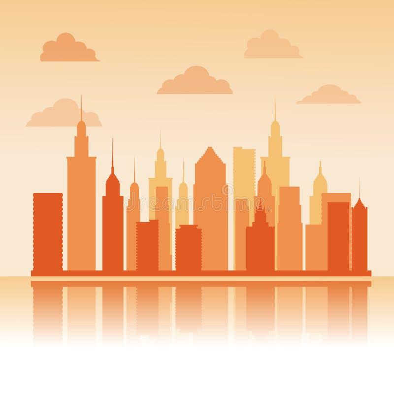 Costruzioni di grande progettazione della città royalty illustrazione gratis
