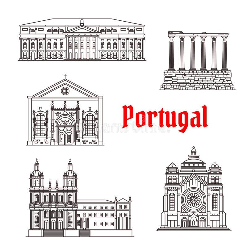 Costruzioni di vettore del punto di riferimento del Portogallo di architettura illustrazione vettoriale