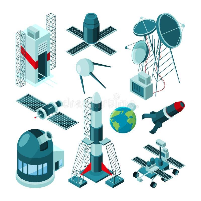 Costruzioni differenti nel centro spaziale per il lancio del razzo illustrazione di stock