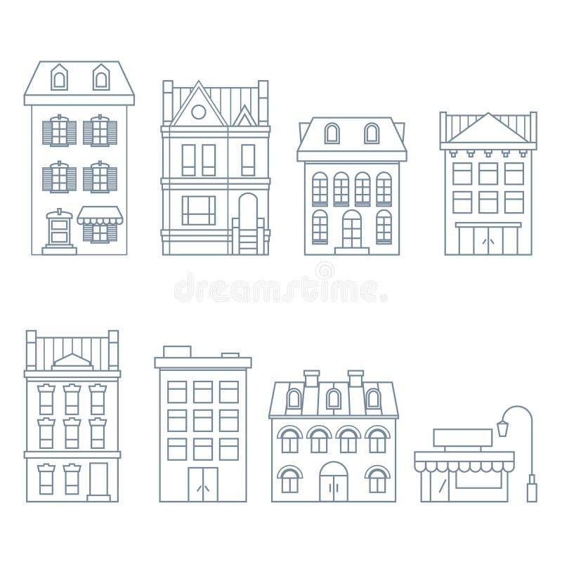 Costruzioni e case nello stile europeo - casa urbana ed hotel royalty illustrazione gratis