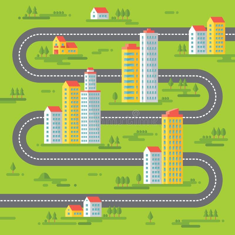 Costruzioni e strada - vector l'illustrazione del fondo nella progettazione piana di stile Costruzioni su fondo verde royalty illustrazione gratis