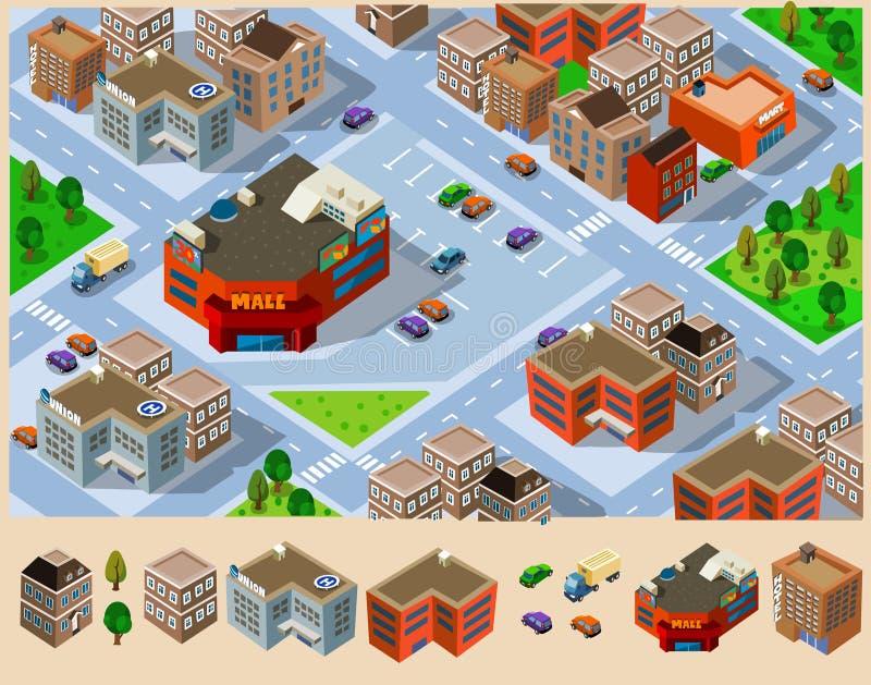 Costruzioni e viale in una città. illustrazione vettoriale