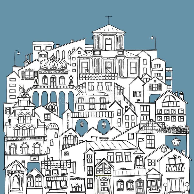 Costruzioni e vie disegnate a mano in cittadina Illustrazione bianca con il fondo nero del blu e del profilo illustrazione di stock
