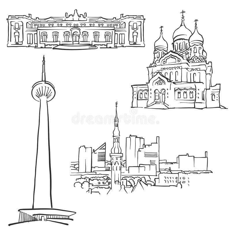 Costruzioni famose di Tallinn Estonia illustrazione di stock