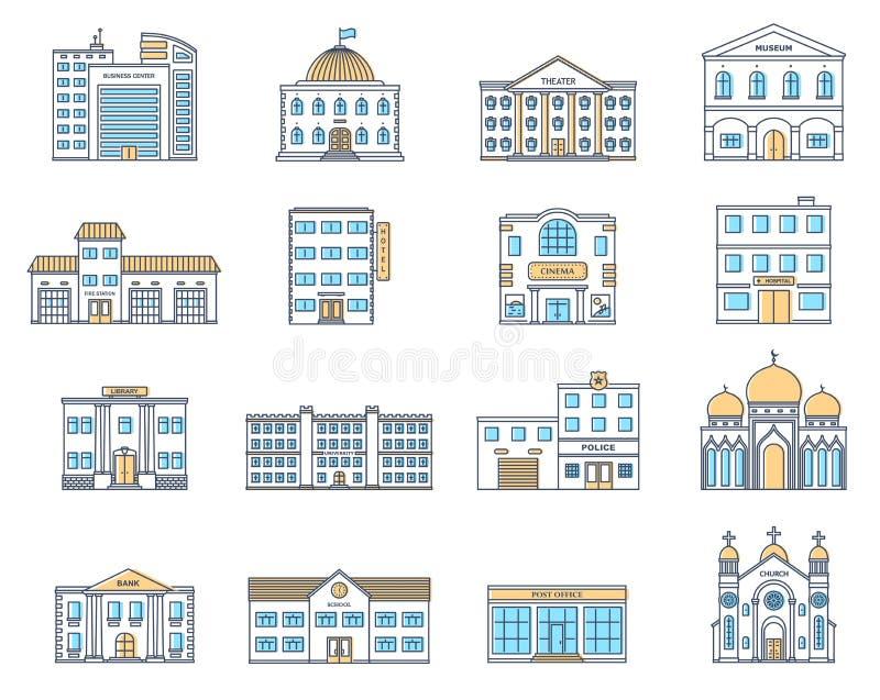 Costruzioni impostate Costruzioni impostate Cottage, deposito, museo, ospedale, biblioteca, banca, cinema, religione, polizia, fu royalty illustrazione gratis