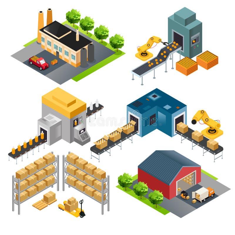 Costruzioni industriali isometriche della fabbrica illustrazione vettoriale