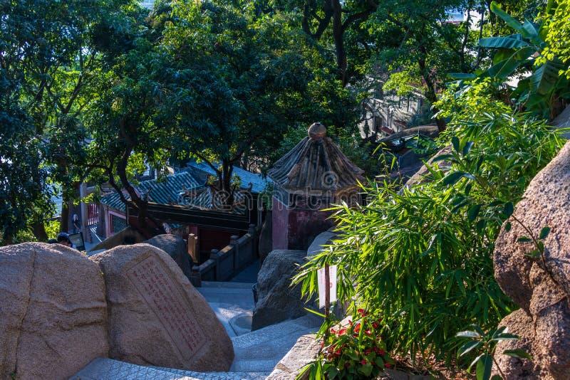 Costruzioni interne di A-ma Temple, Templo de A-Má alla marino dea cinese Mazu Sao Lourenco, Macao, Cina fotografia stock libera da diritti