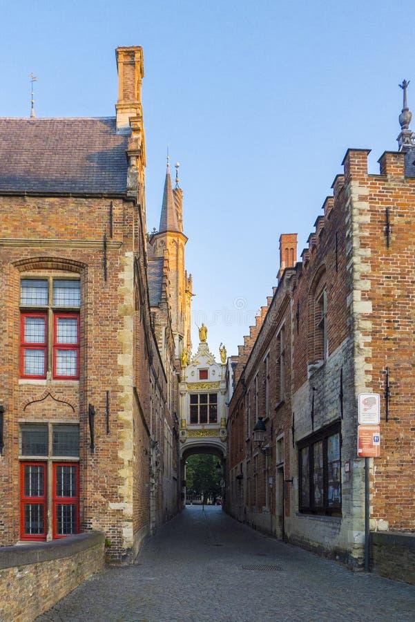 Costruzioni medievali di Bruges Belgio fotografie stock libere da diritti