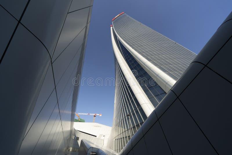 Costruzioni moderne a Citylife, Milano fotografia stock libera da diritti