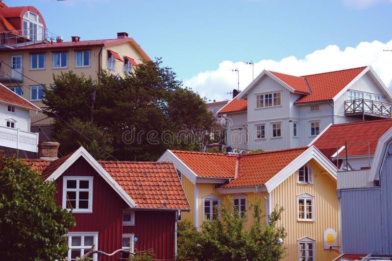 Costruzioni nell'arcipelago in Svezia fotografia stock libera da diritti