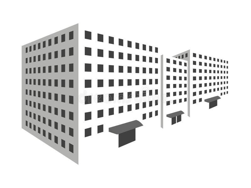 Costruzioni nella prospettiva su un fondo bianco Il profilo delle case, la città in 3D royalty illustrazione gratis