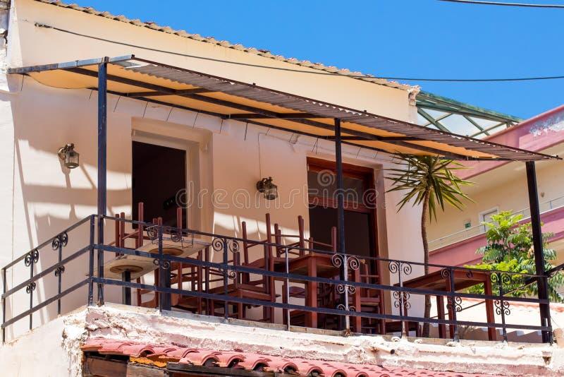 Costruzioni nella vecchia città di Chania sull'isola di Creta, Grecia fotografia stock libera da diritti