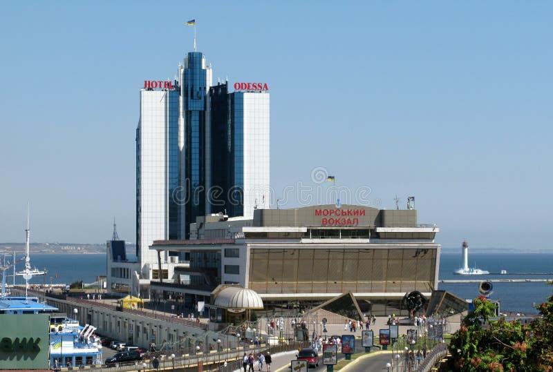 Costruzioni Odessa del porto marittimo fotografie stock libere da diritti
