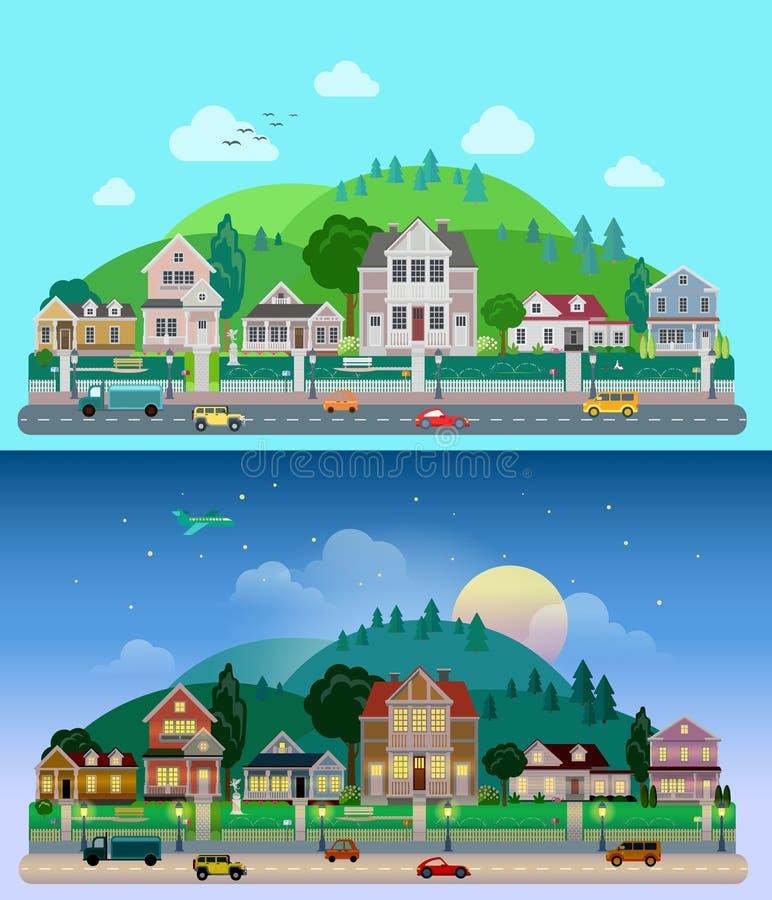 Costruzioni piane del villaggio della campagna di vettore: giorno, notte, case illustrazione di stock