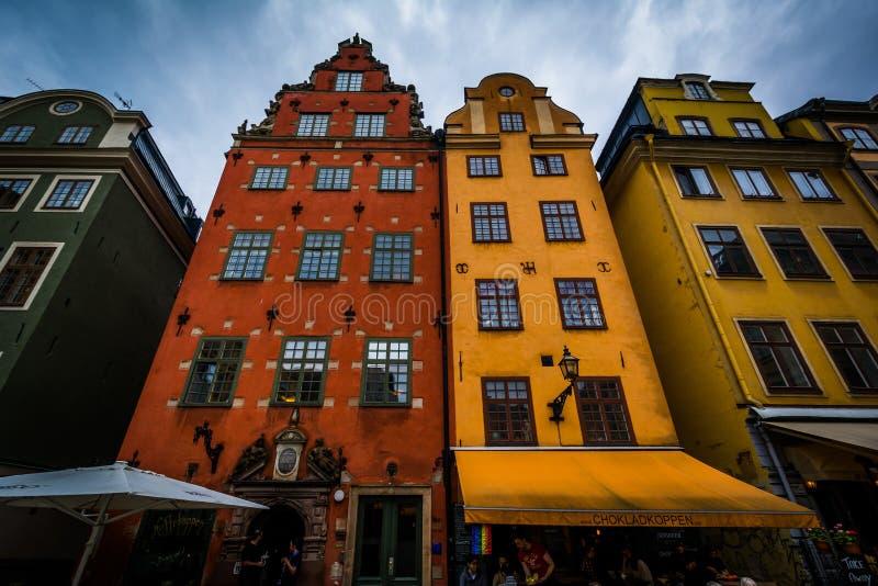 Costruzioni a Stortorget, in Galma Stan, Stoccolma, Svezia immagine stock libera da diritti