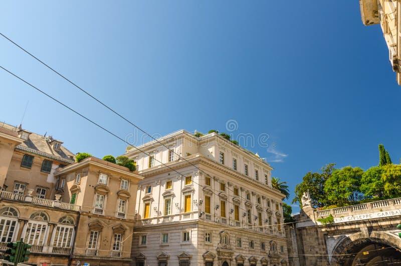Costruzioni tipiche classiche del palazzo di Palazzo Lercari-Parodi sul quadrato di Piazza del Portello fotografia stock libera da diritti