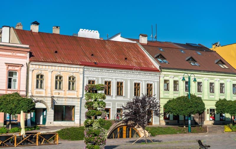 Costruzioni tradizionali nella vecchia città di Presov, Slovacchia fotografia stock