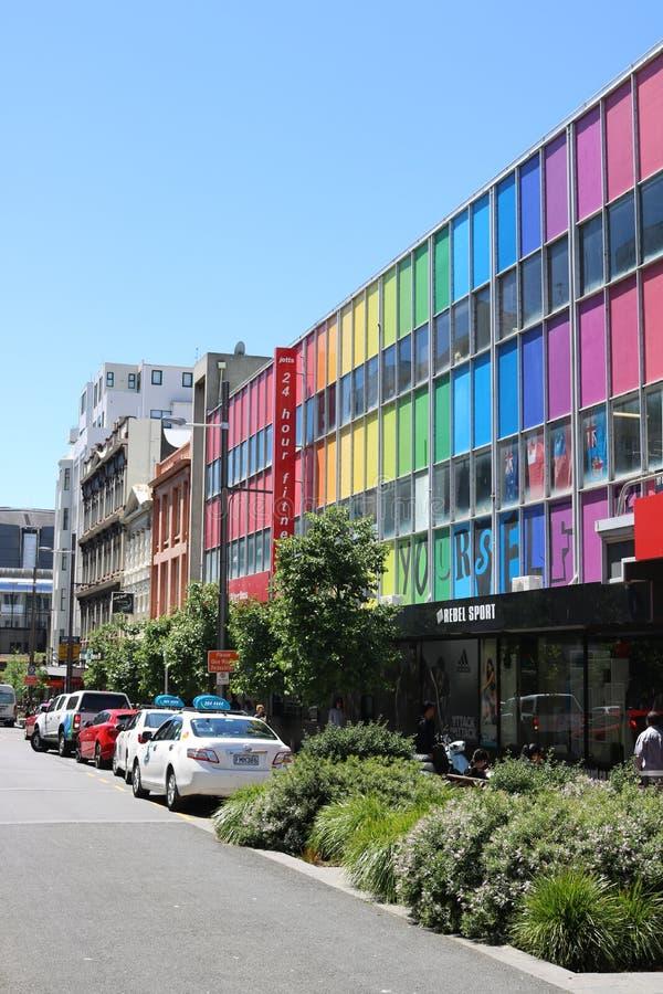 Costruzioni variopinte, via di Cuba, Wellington, NZ immagine stock libera da diritti