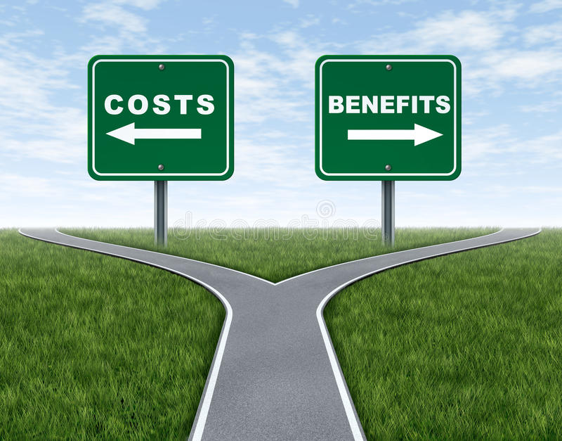 Costs and benefits. Dilemma at a cross road or forked highway representing the difficult choice between choosing negative or positive outlook