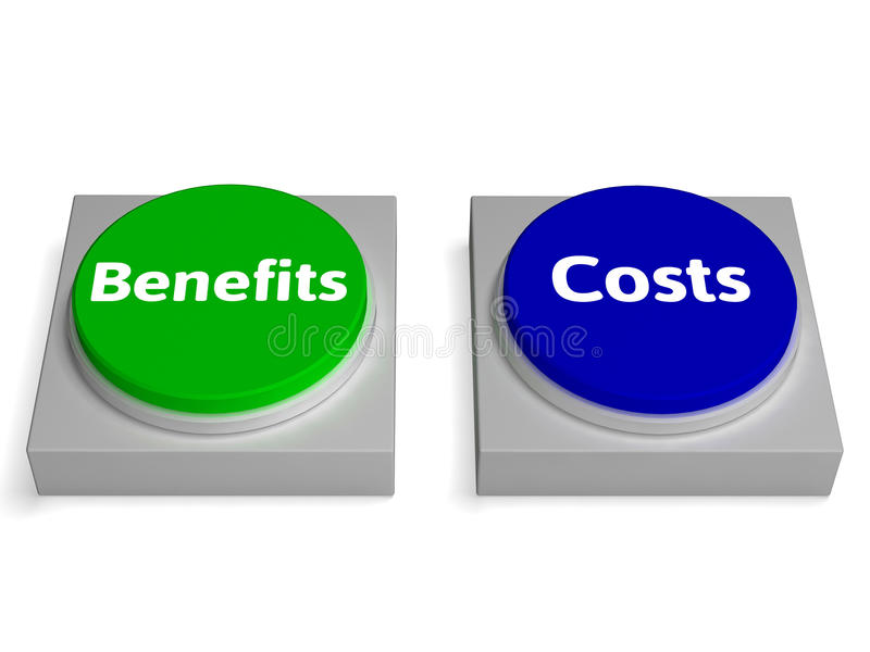 Costs Benefits Buttons Shows Cost Benefit Analysis. Costs Benefits Buttons Showing Cost Benefit Analysis stock illustration