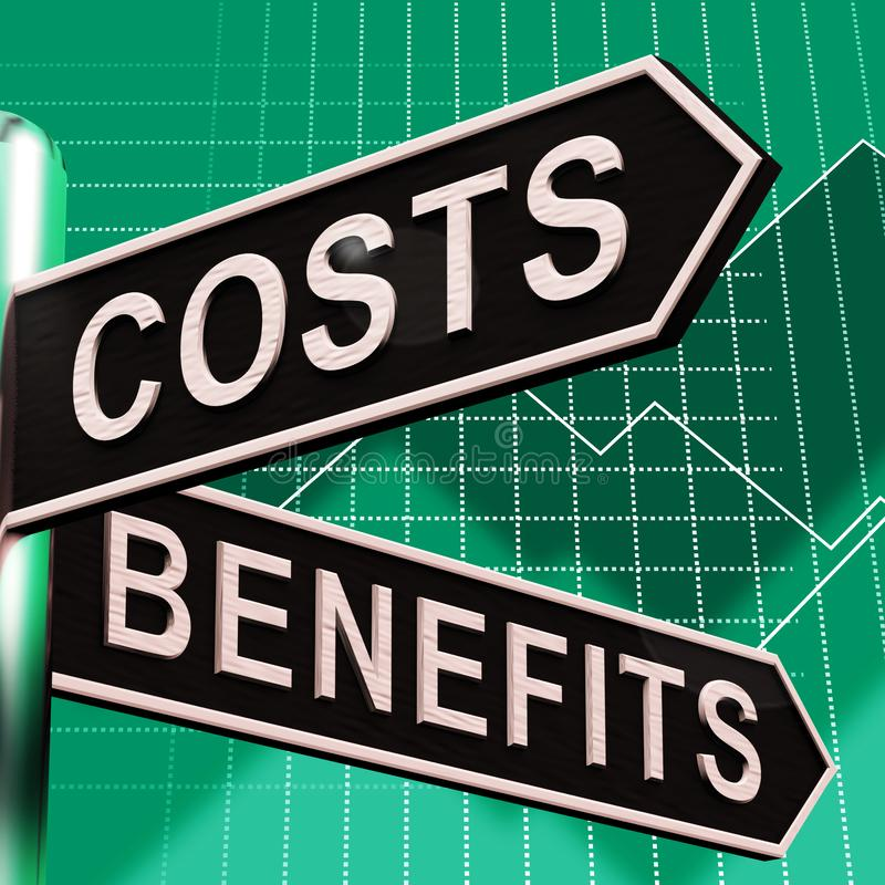 Costs Benefits Choices On Signpost Showing Analysis And Value 3d Illustration. Costs Benefits Choices On Signpost Shows Analysis And Value 3d Illustration royalty free illustration