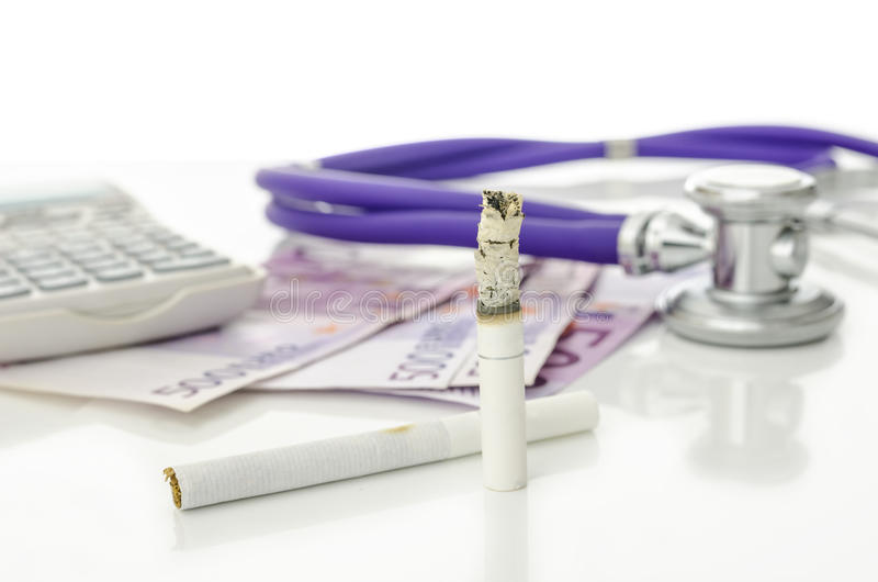 Costs and dangers of smoking royalty free stock photos
