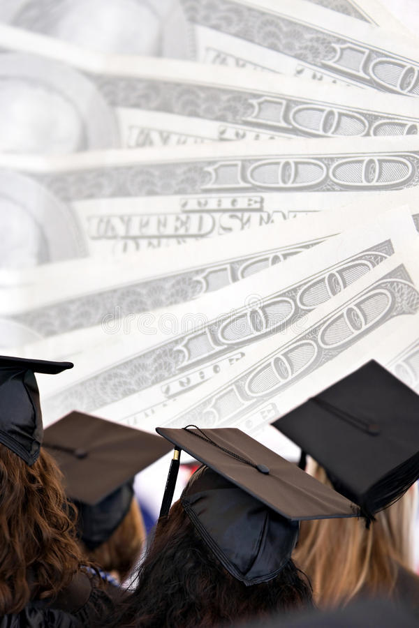 Costs of Education. College education montage with graduates isolated over a background of money stock photography