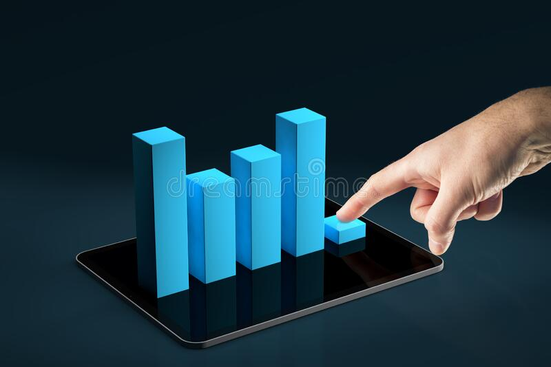 Costs reduction app concept. Costs cut, costs optimization business concept. Businessman press costs down represented by graph placed on digital tablet royalty free stock photo