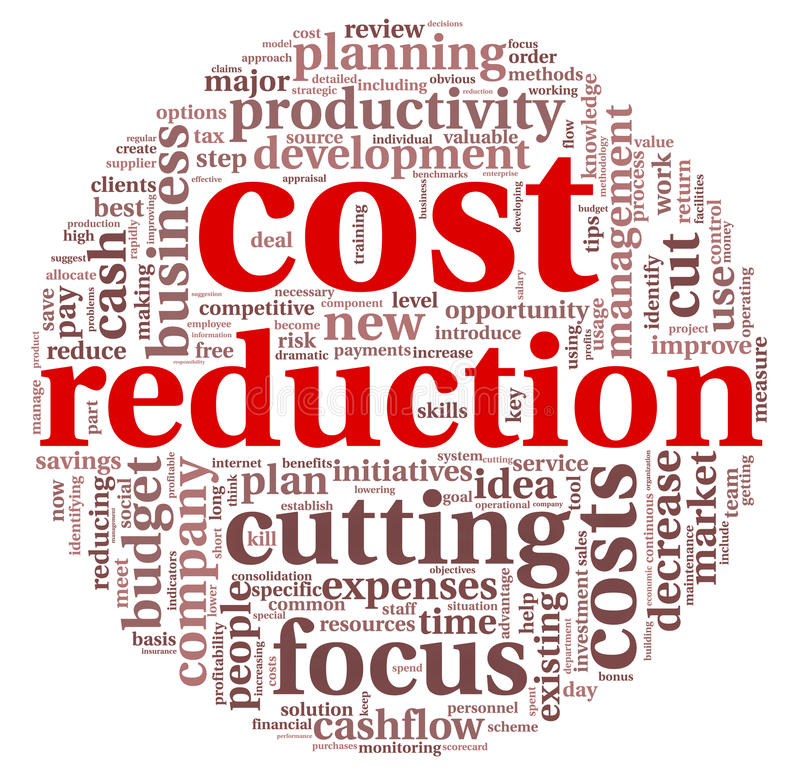 Costs reduction concept royalty free illustration