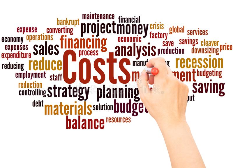 Costs word cloud hand writing concept stock illustration