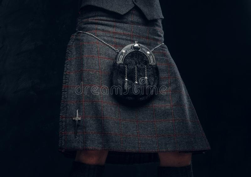 Costume écossais traditionnel Kilt et escarcelle images libres de droits