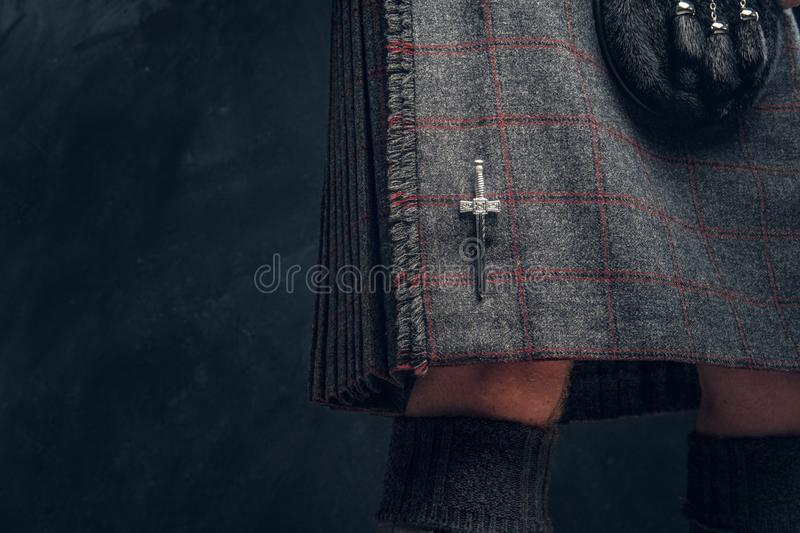 Costume écossais traditionnel Kilt et escarcelle photo libre de droits