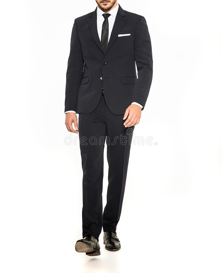Costume élégant d'hommes avec le lien noir et la chemise blanche images stock