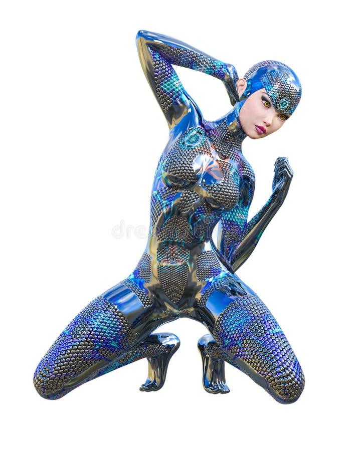 Costume au néon métallique futuriste de femme de cyborg illustration stock
