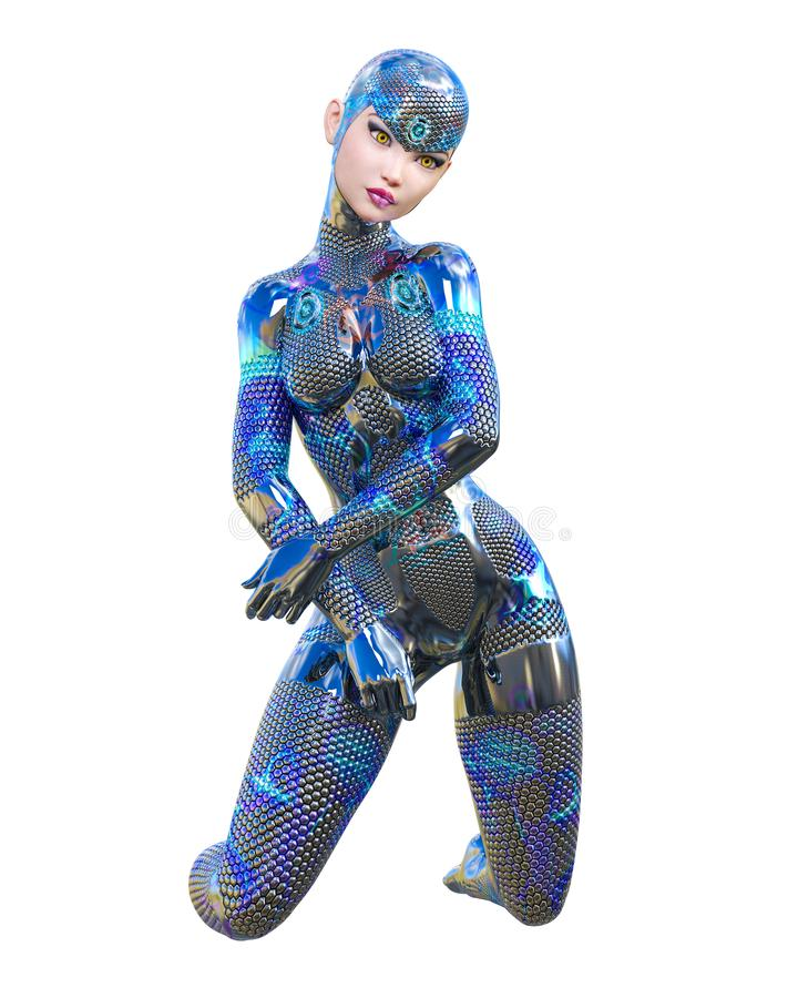Costume au néon métallique futuriste de femme de cyborg illustration de vecteur