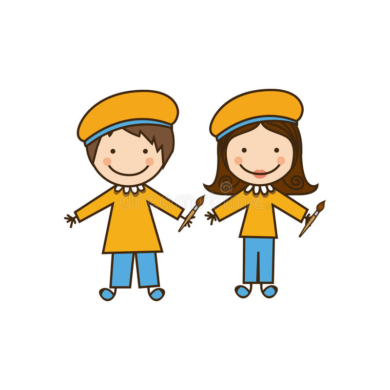 costume coloré de peintres de couples de caricature illustration de vecteur