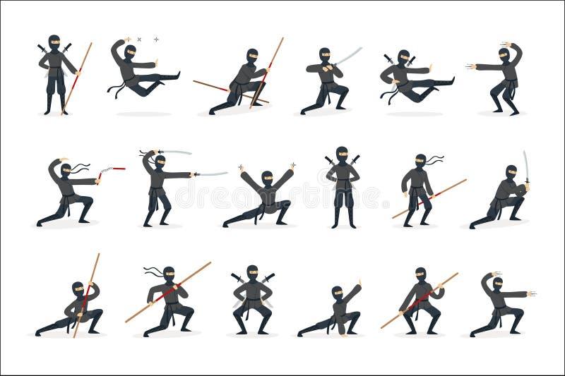 Costume d'In Full Black d'assassin de Ninja de Japonais ex?cutant des postures d'arts martiaux de Ninjitsu avec diff?rentes armes illustration stock