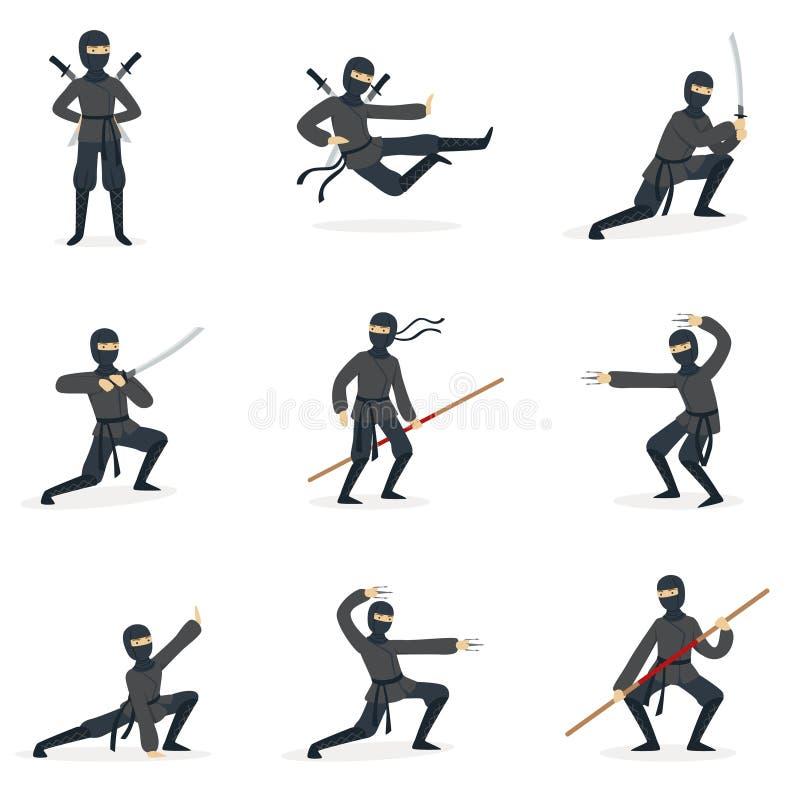 Costume d'In Full Black d'assassin de Ninja de Japonais exécutant des postures d'arts martiaux de Ninjitsu avec différentes série illustration libre de droits
