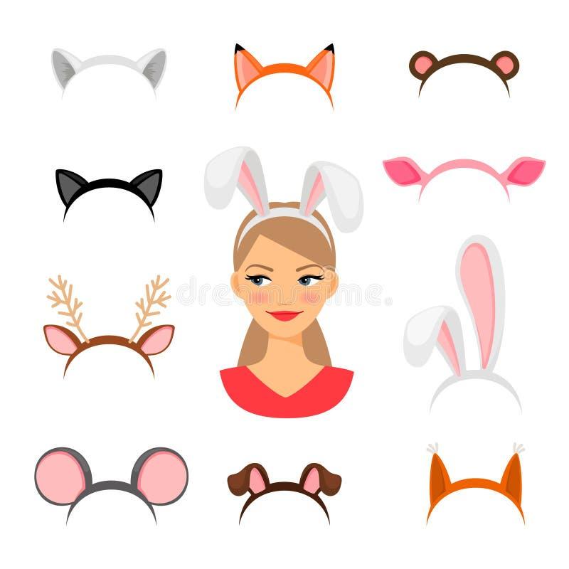 Costume d'oreilles d'animaux de filles illustration stock