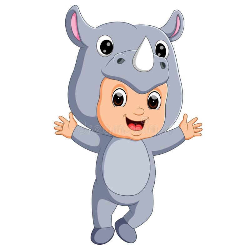 Costume d'uso del rinoceronte del fumetto sveglio del ragazzo royalty illustrazione gratis