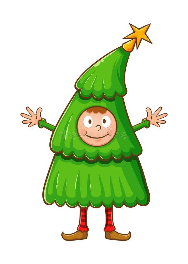 Costume d'uso dell'albero di Natale del ragazzo royalty illustrazione gratis