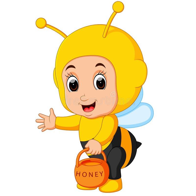 Costume d'uso dell'ape del fumetto sveglio del ragazzo illustrazione di stock