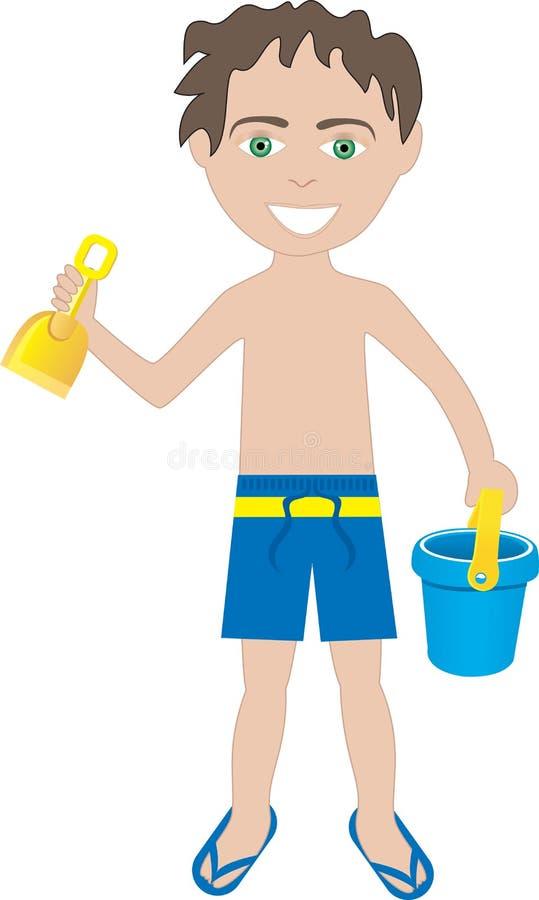 Costume da bagno del ragazzo del Brunette illustrazione vettoriale
