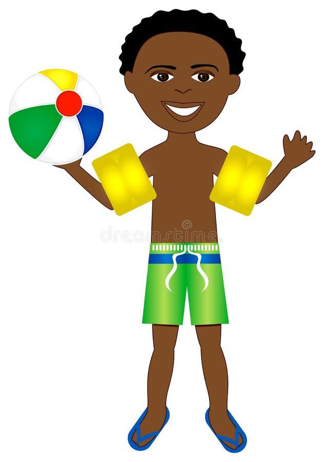 Costume da bagno del ragazzo di Afro illustrazione di stock